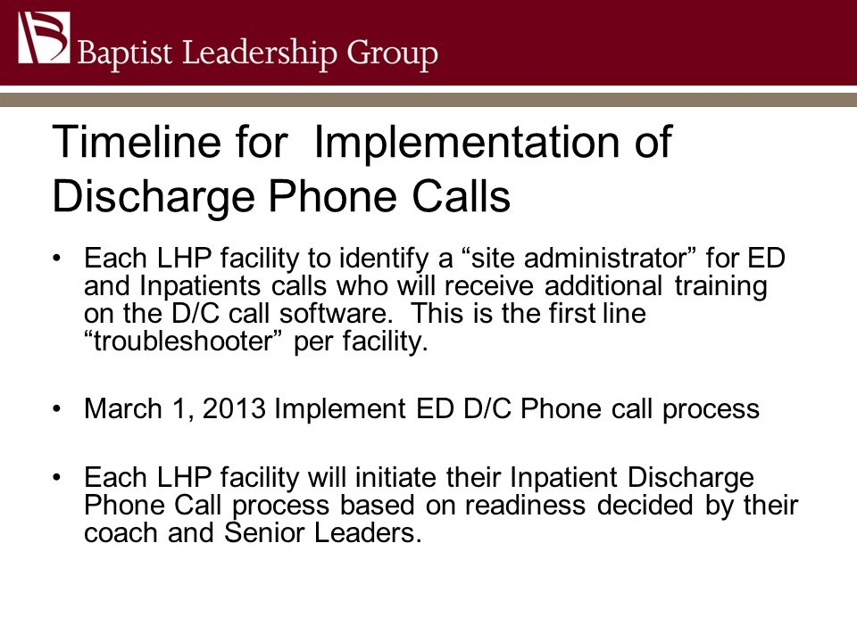 Timeline for Implementation of Discharge Phone Calls