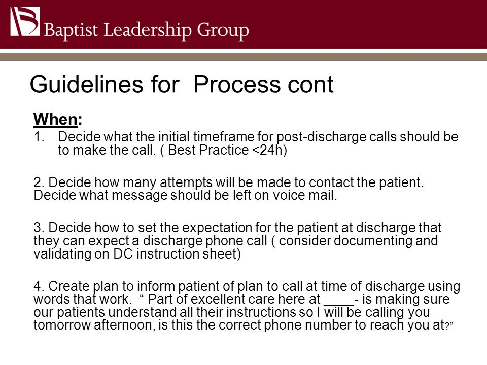 Guidelines for Process cont