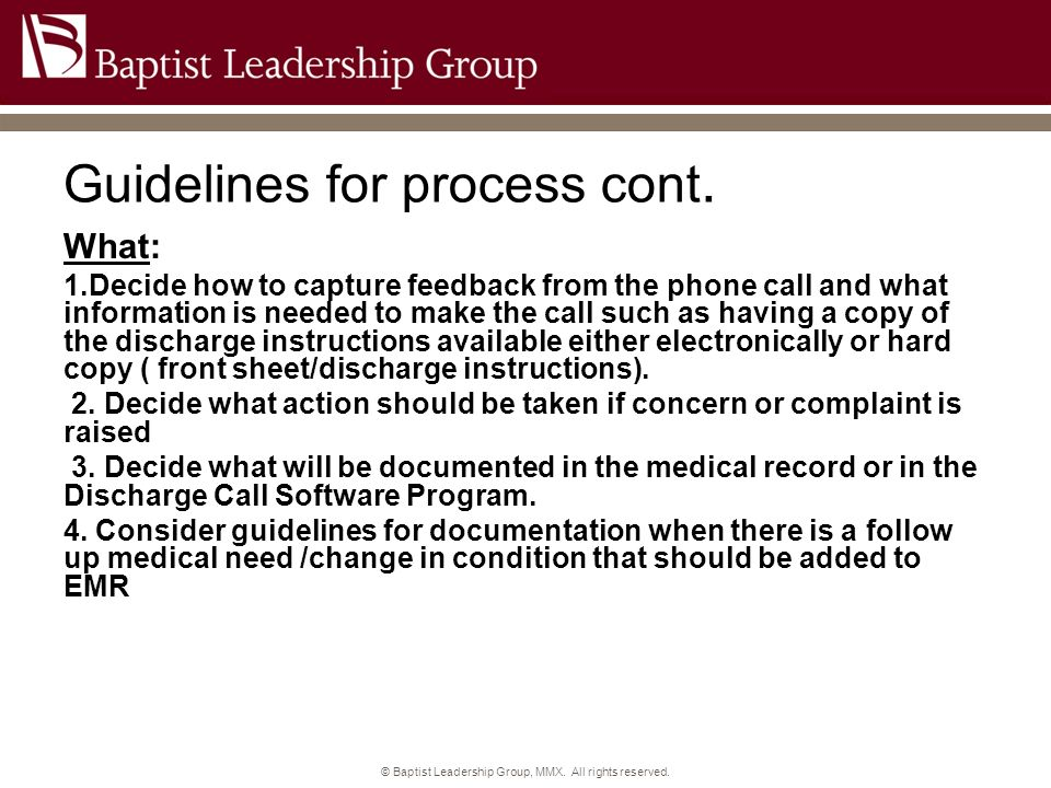 Guidelines for process cont.