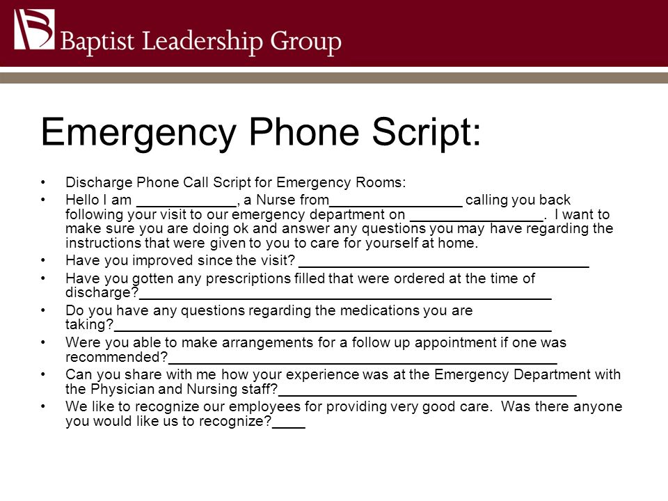 Emergency Phone Script: