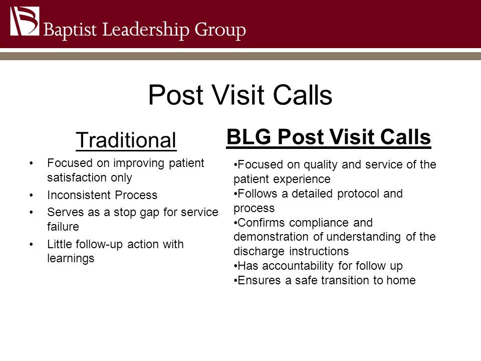 Post Visit Calls BLG Post Visit Calls Traditional