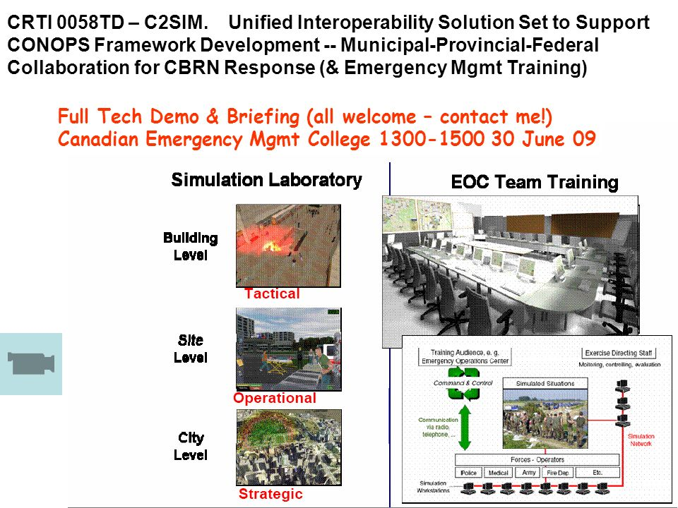 CRTI 0058TD – C2SIM. Unified Interoperability Solution Set to Support CONOPS Framework Development -- Municipal-Provincial-Federal Collaboration for CBRN Response (& Emergency Mgmt Training)