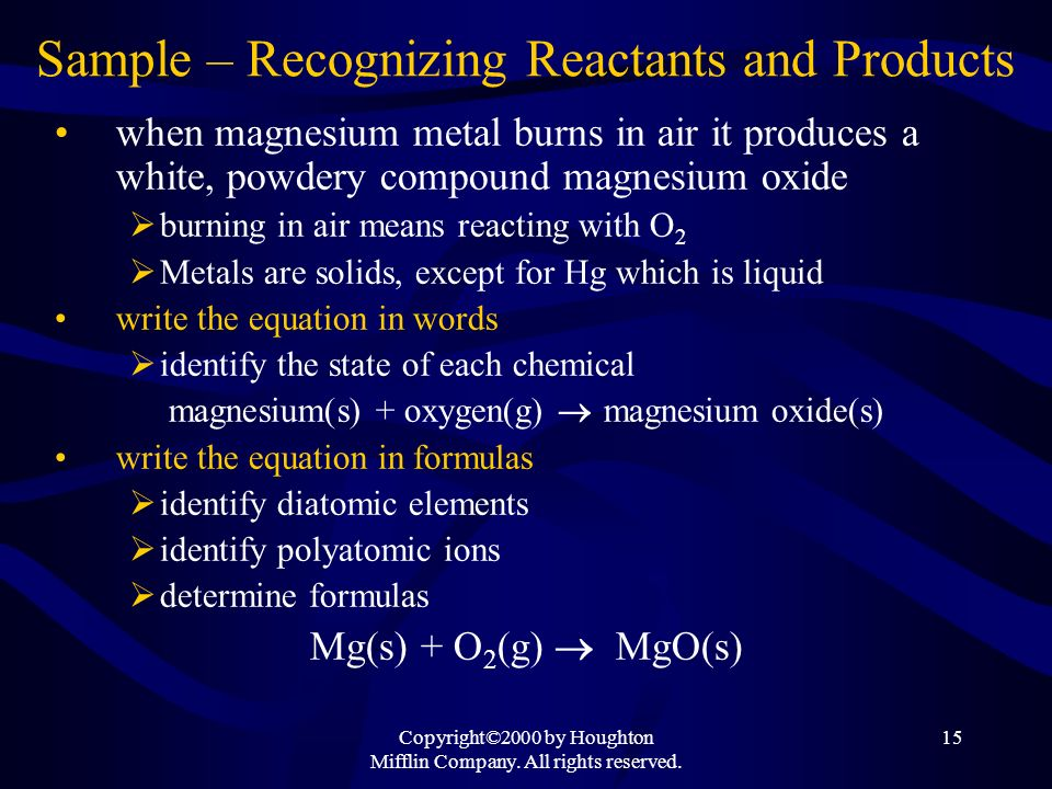 Sample – Recognizing Reactants and Products