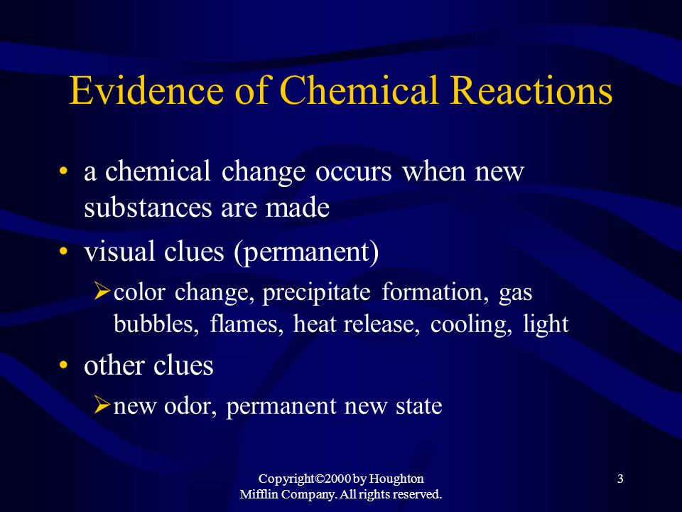 Evidence of Chemical Reactions