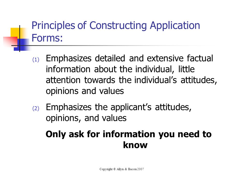Principles of Constructing Application Forms: