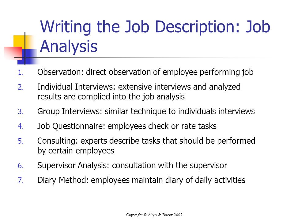 Writing the Job Description: Job Analysis