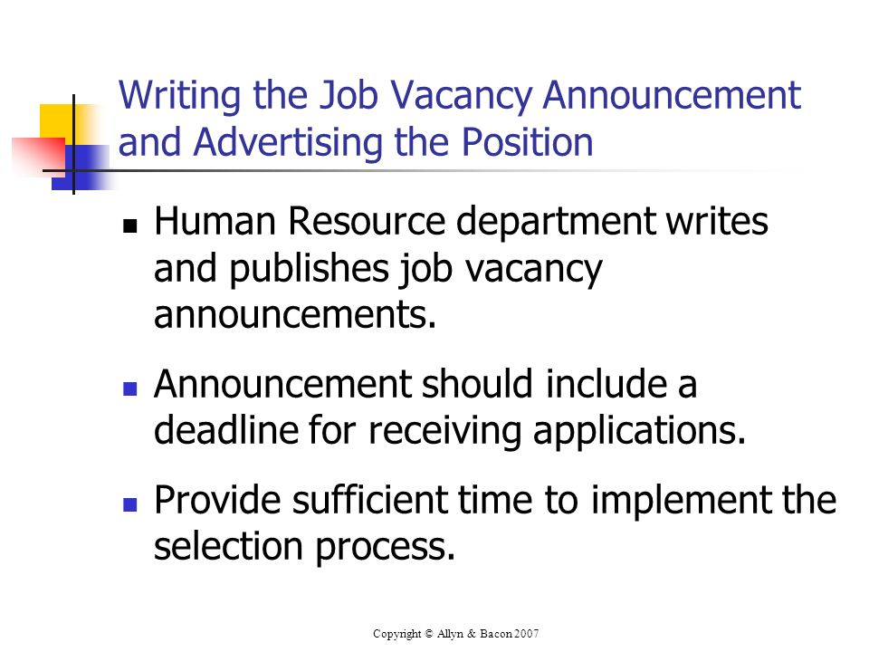 Writing the Job Vacancy Announcement and Advertising the Position