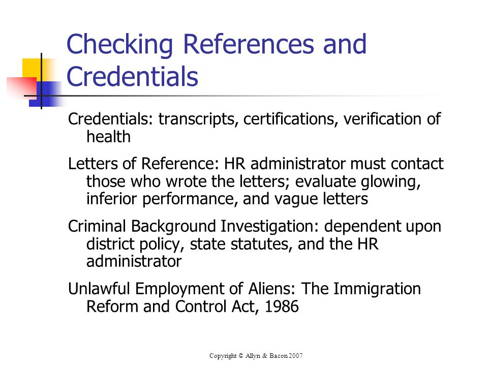 Checking References and Credentials