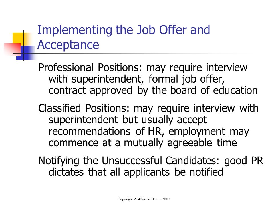 Implementing the Job Offer and Acceptance