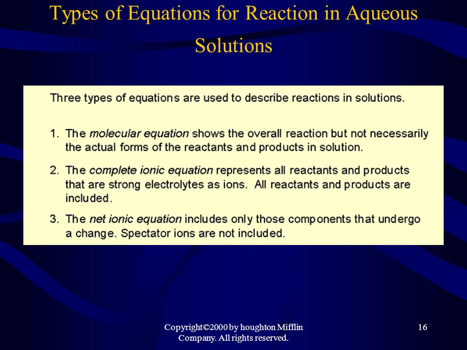 Types of Equations for Reaction in Aqueous Solutions