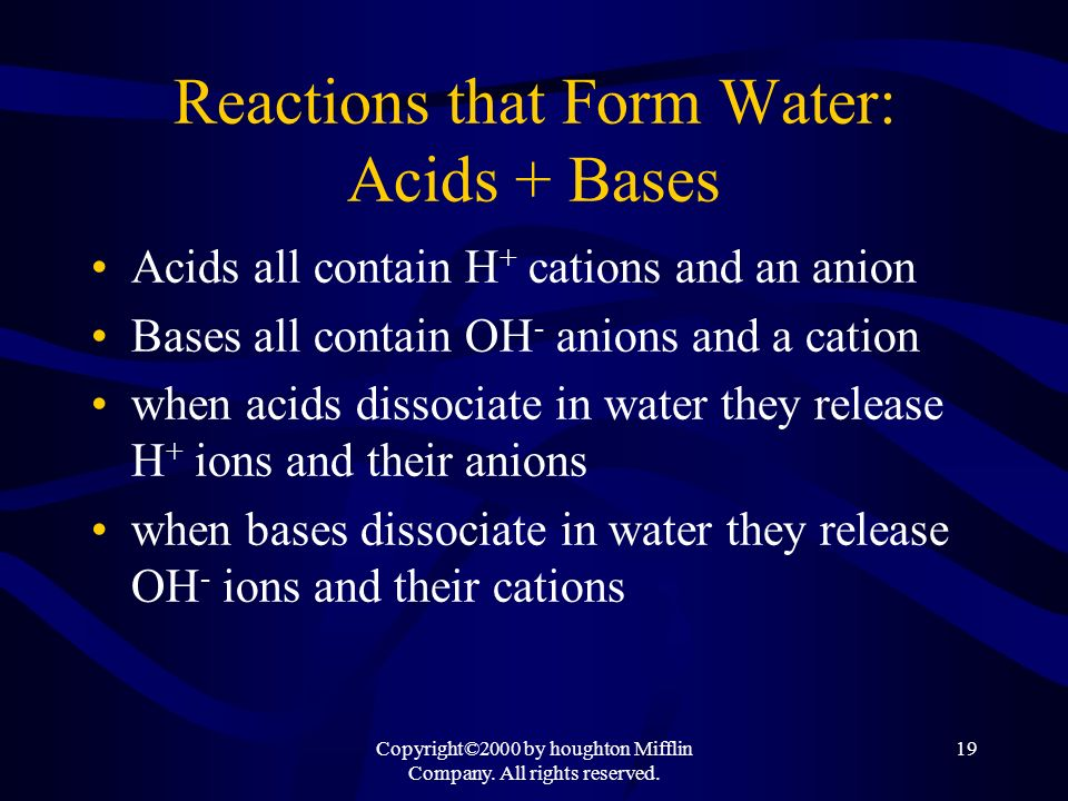Reactions that Form Water: Acids + Bases