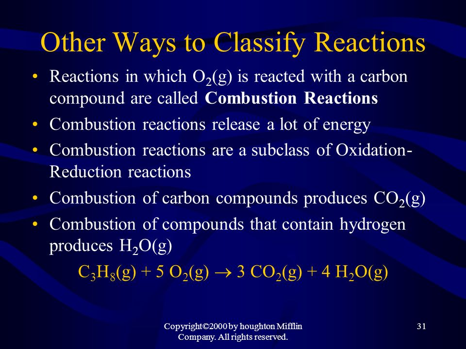 Other Ways to Classify Reactions