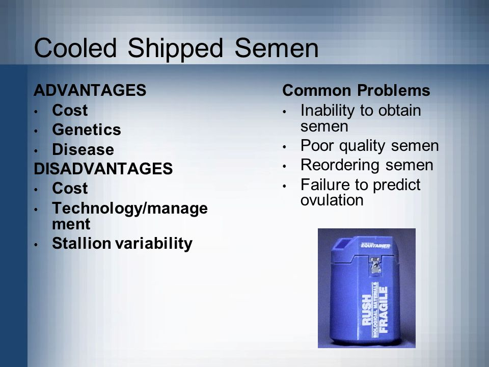 Cooled Shipped Semen ADVANTAGES Cost Genetics Disease DISADVANTAGES