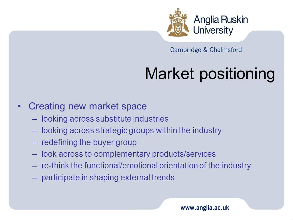 Market positioning Creating new market space