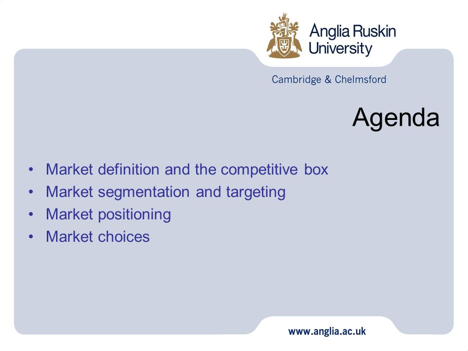 Agenda Market definition and the competitive box