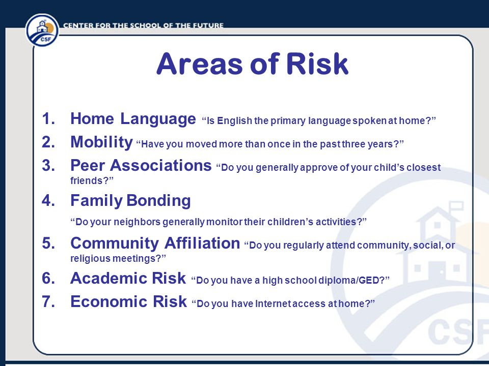 Areas of Risk Home Language Is English the primary language spoken at home Mobility Have you moved more than once in the past three years