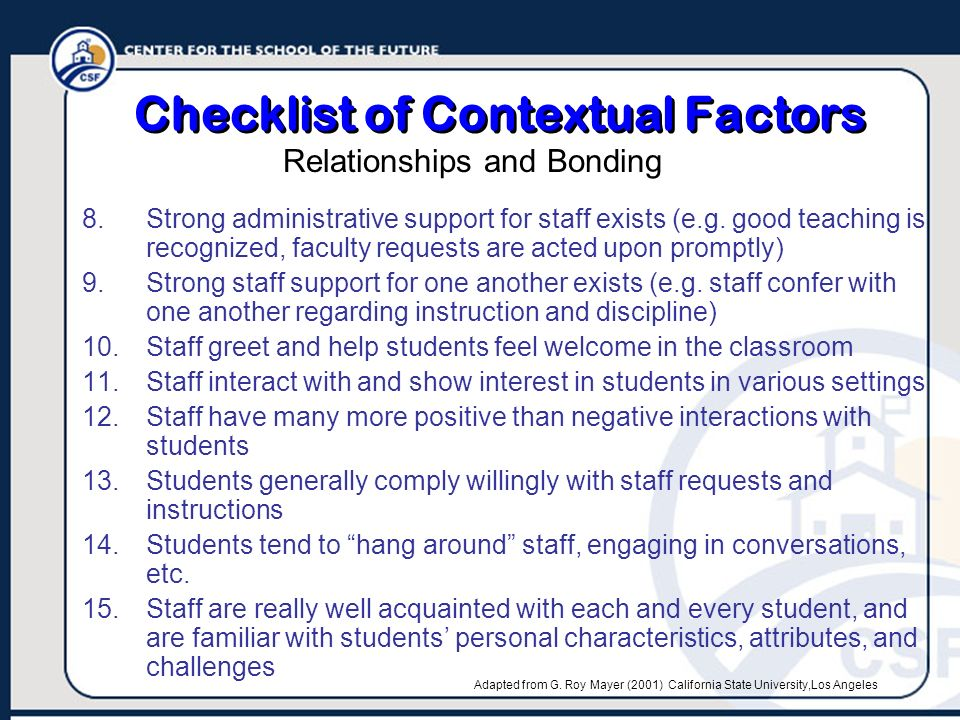 Checklist of Contextual Factors