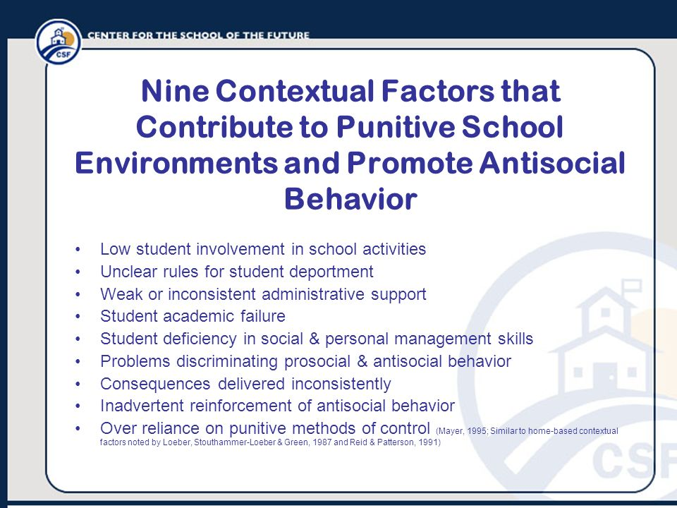 Nine Contextual Factors that Contribute to Punitive School Environments and Promote Antisocial Behavior
