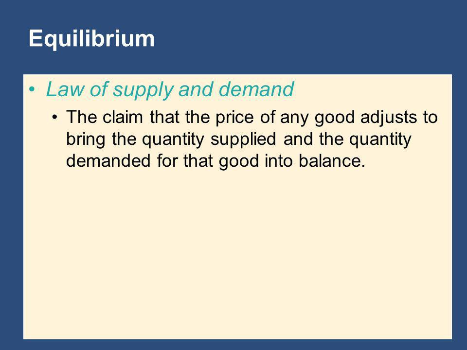 Equilibrium Law of supply and demand