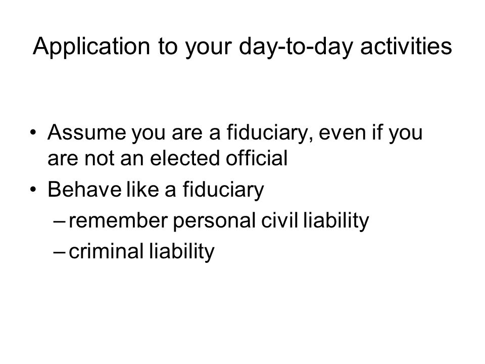 Application to your day-to-day activities