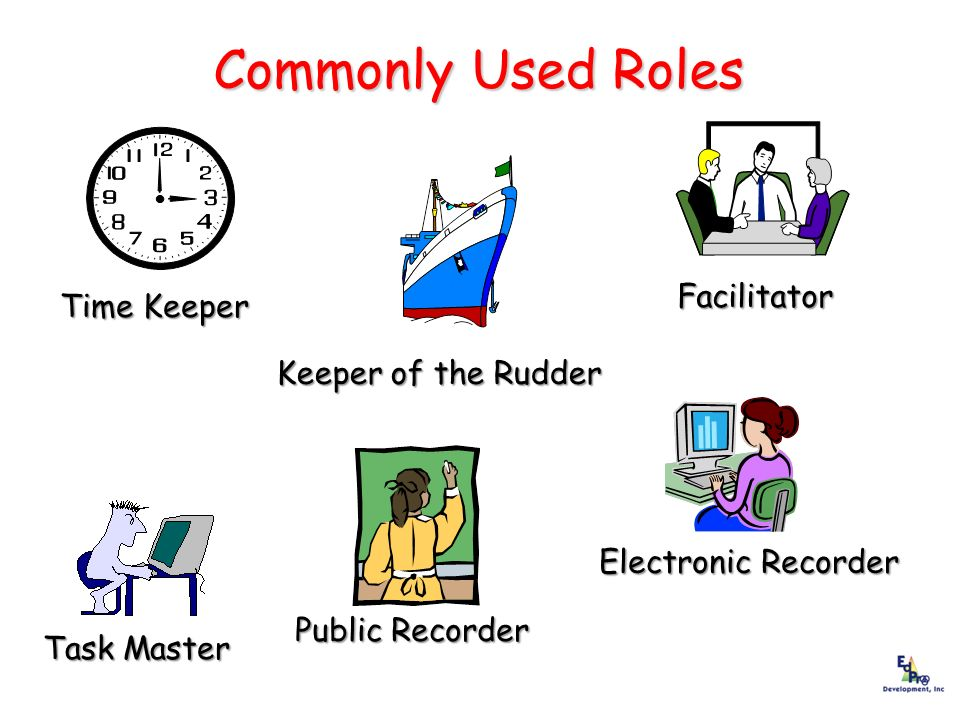 Commonly Used Roles Facilitator Time Keeper Keeper of the Rudder