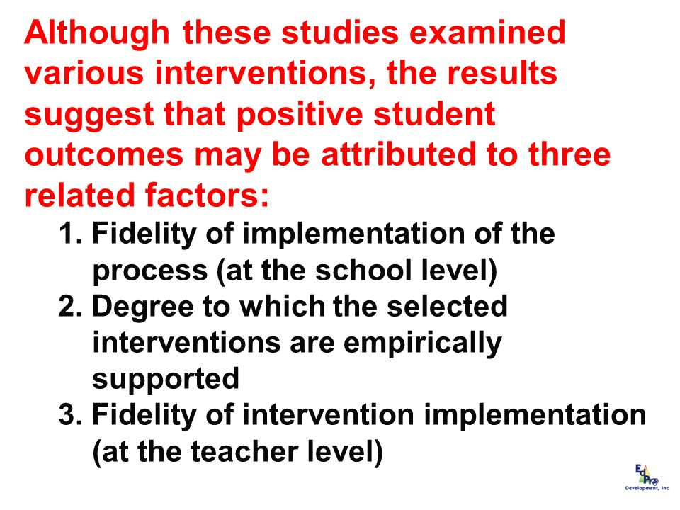 Although these studies examined various interventions, the results suggest that positive student outcomes may be attributed to three related factors: