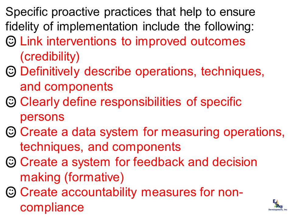 Link interventions to improved outcomes (credibility)