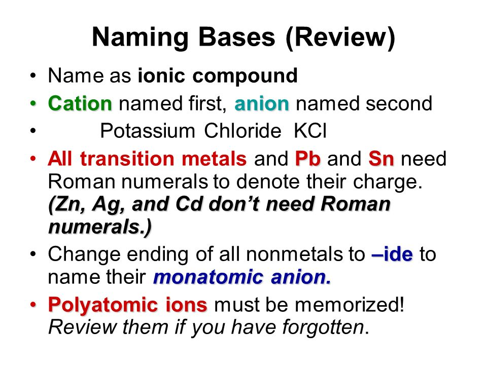 Naming Bases (Review) Name as ionic compound