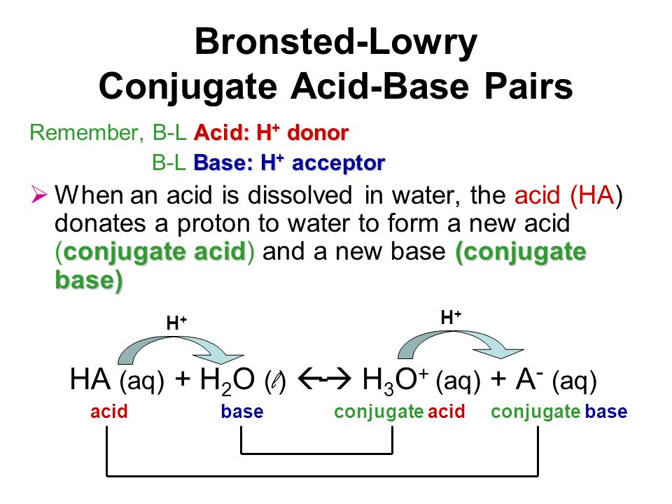 Bronsted-Lowry Conjugate Acid-Base Pairs