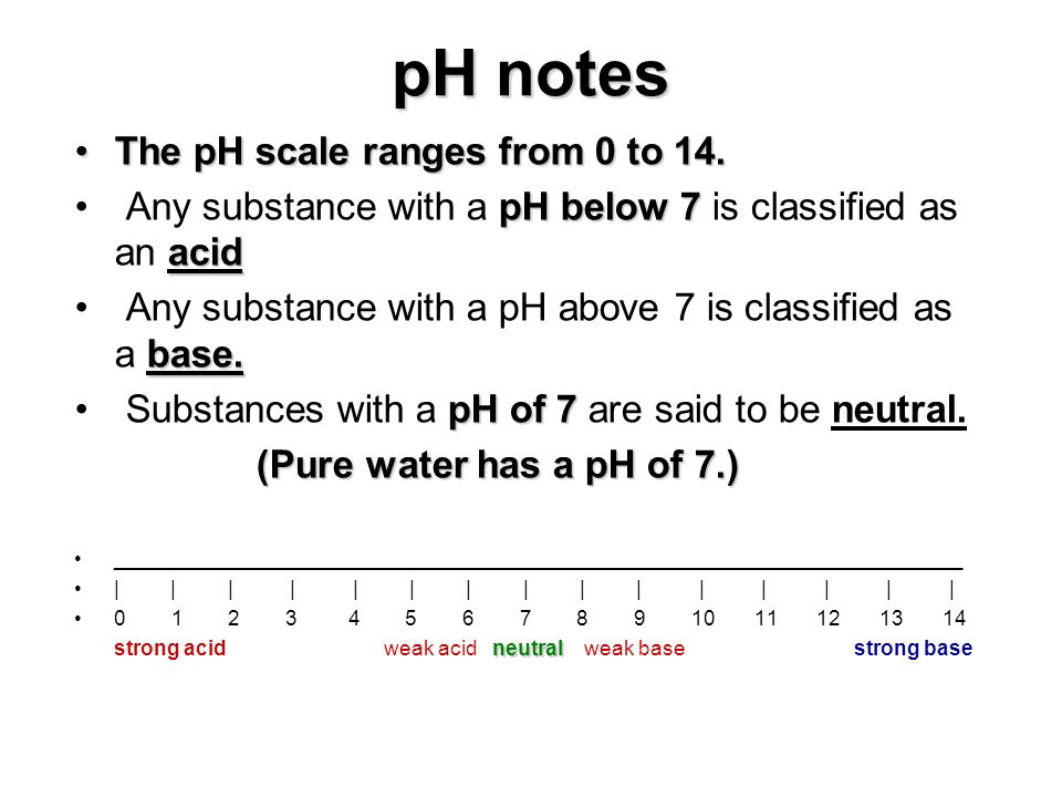 pH notes The pH scale ranges from 0 to 14.