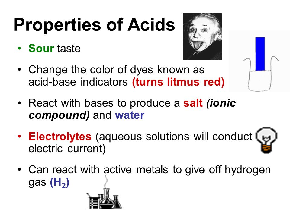 Properties of Acids Sour taste