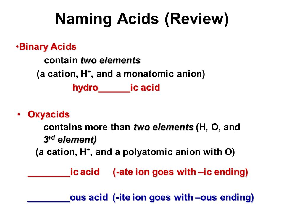 Naming Acids (Review) Binary Acids contain two elements