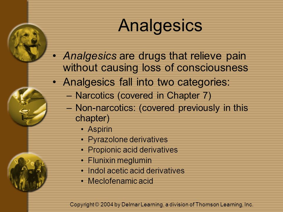 Analgesics Analgesics are drugs that relieve pain without causing loss of consciousness. Analgesics fall into two categories:
