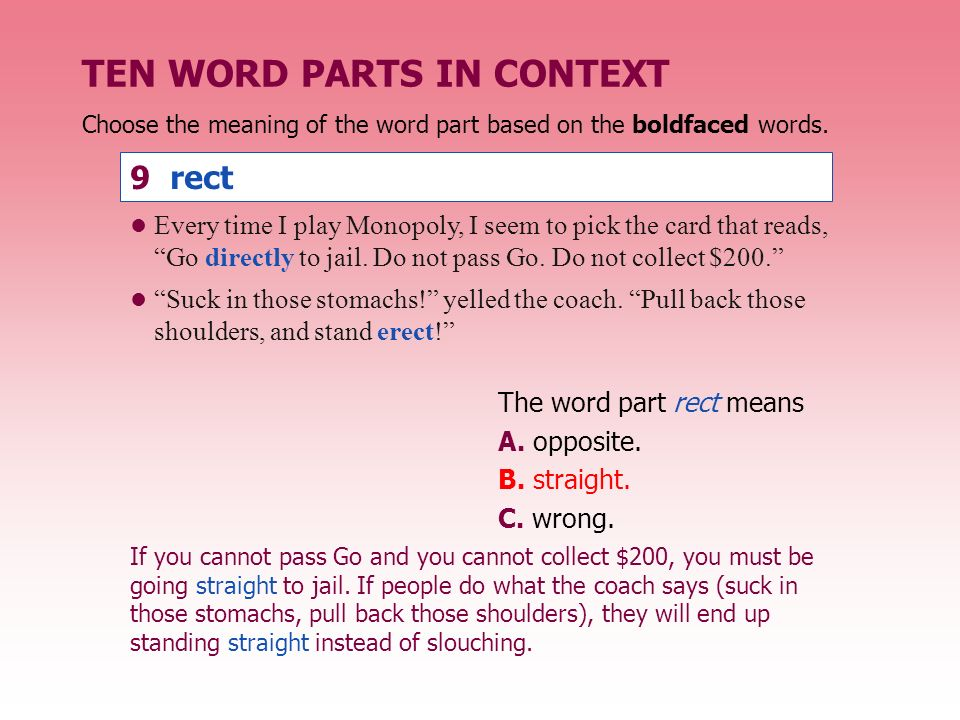 TEN WORD PARTS IN CONTEXT