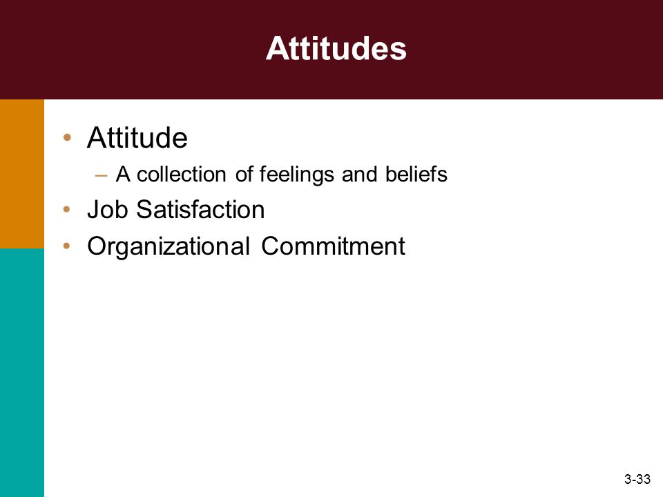 Attitudes Attitude Job Satisfaction Organizational Commitment