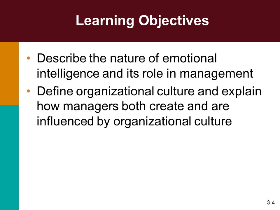 Learning Objectives Describe the nature of emotional intelligence and its role in management.