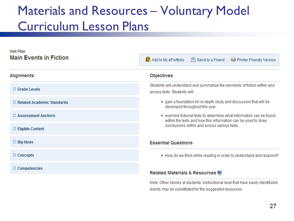 Materials and Resources – Voluntary Model Curriculum Lesson Plans