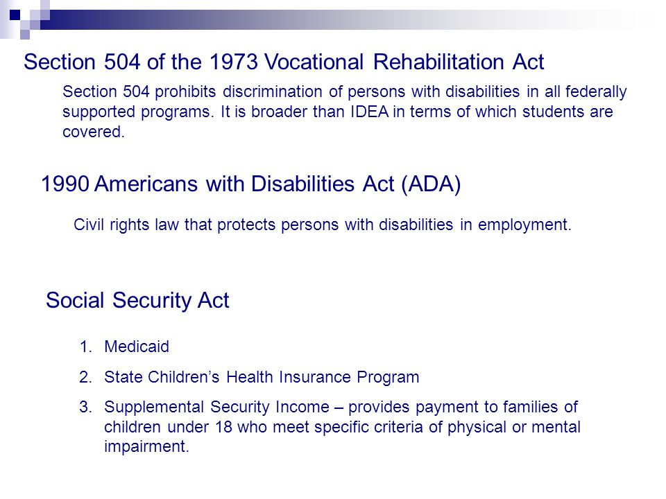 Section 504 of the 1973 Vocational Rehabilitation Act