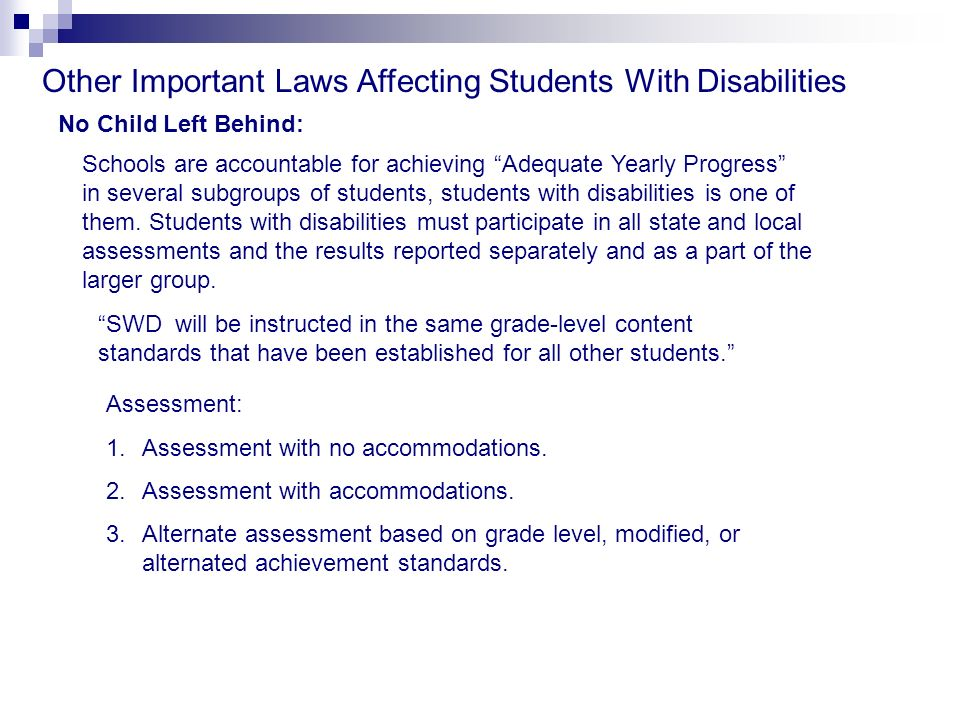 Other Important Laws Affecting Students With Disabilities