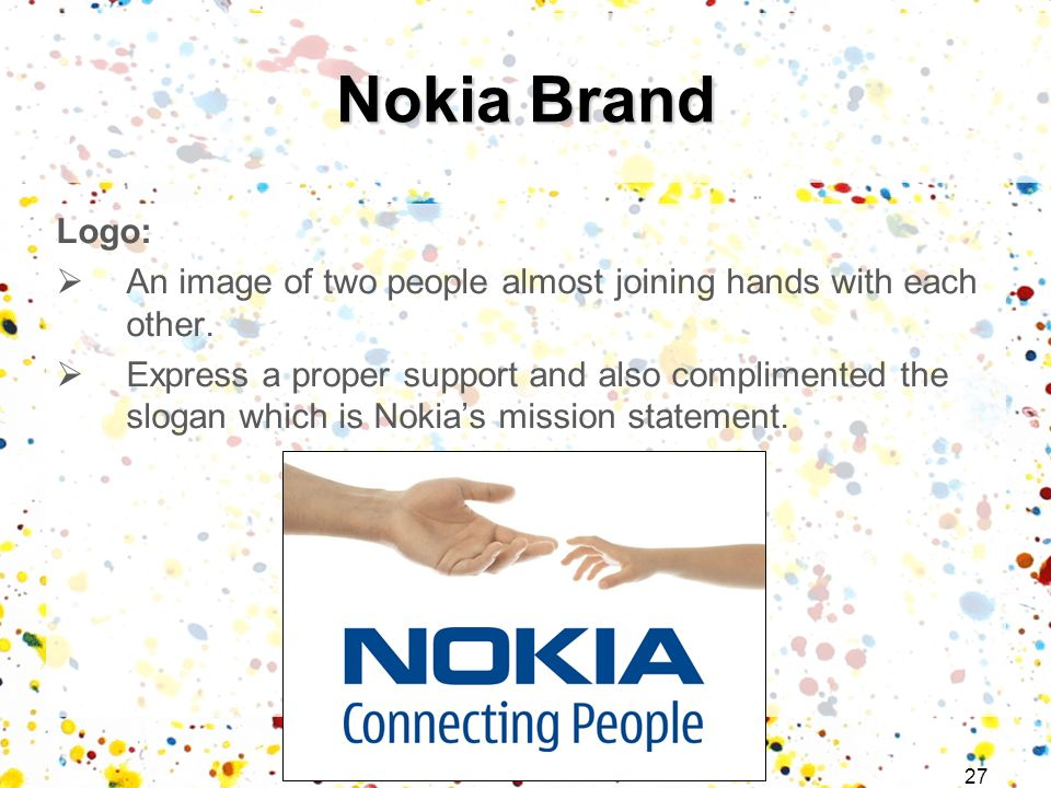 Nokia Brand Logo: An image of two people almost joining hands with each other.