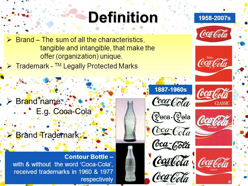 Definition Brand name: E.g. Coca-Cola Brand Trademark: