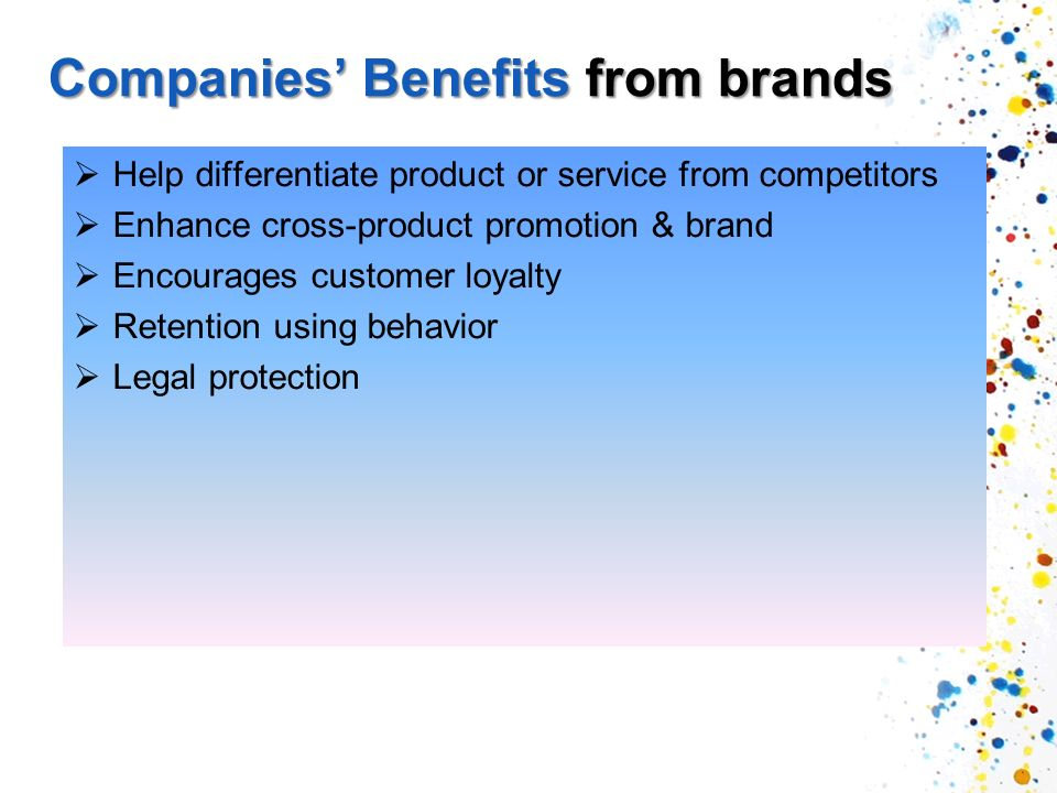 Companies' Benefits from brands