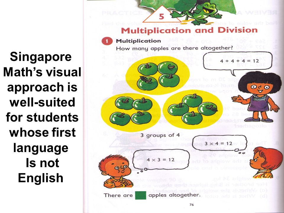Singapore Math's visual approach is well-suited for students whose first language Is not English
