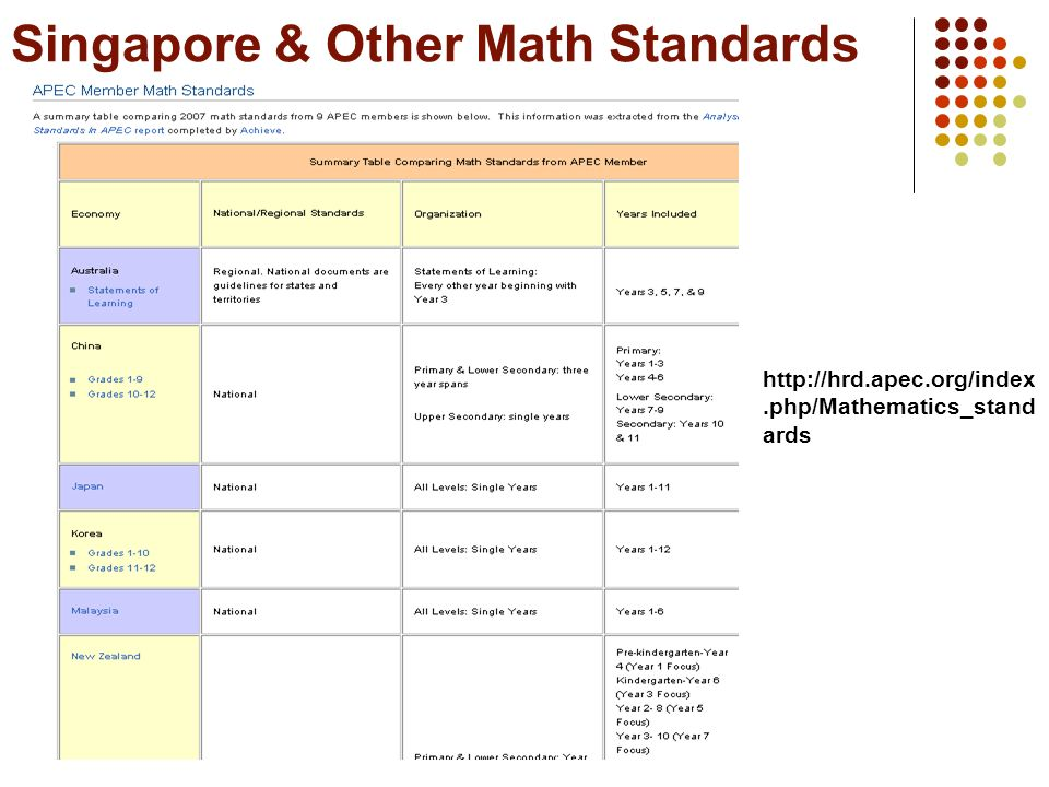 Singapore & Other Math Standards