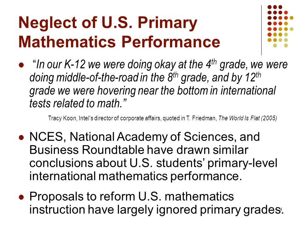 Neglect of U.S. Primary Mathematics Performance