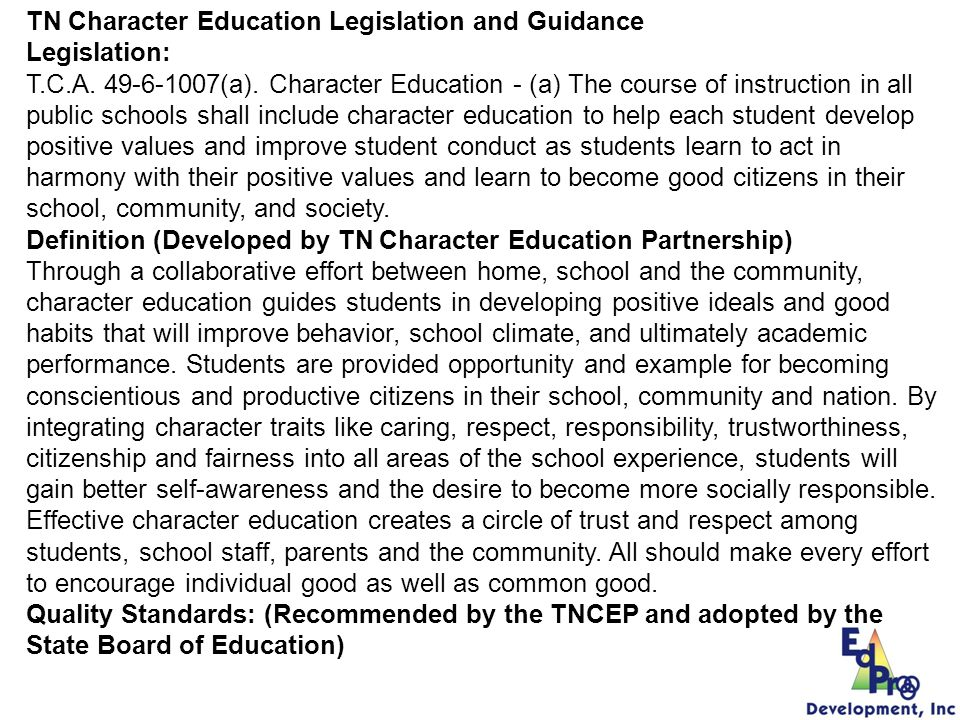 TN Character Education Legislation and Guidance