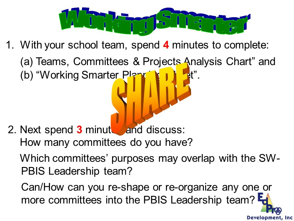 Working Smarter With your school team, spend 4 minutes to complete: