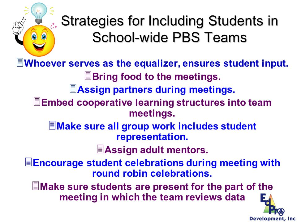 Strategies for Including Students in School-wide PBS Teams