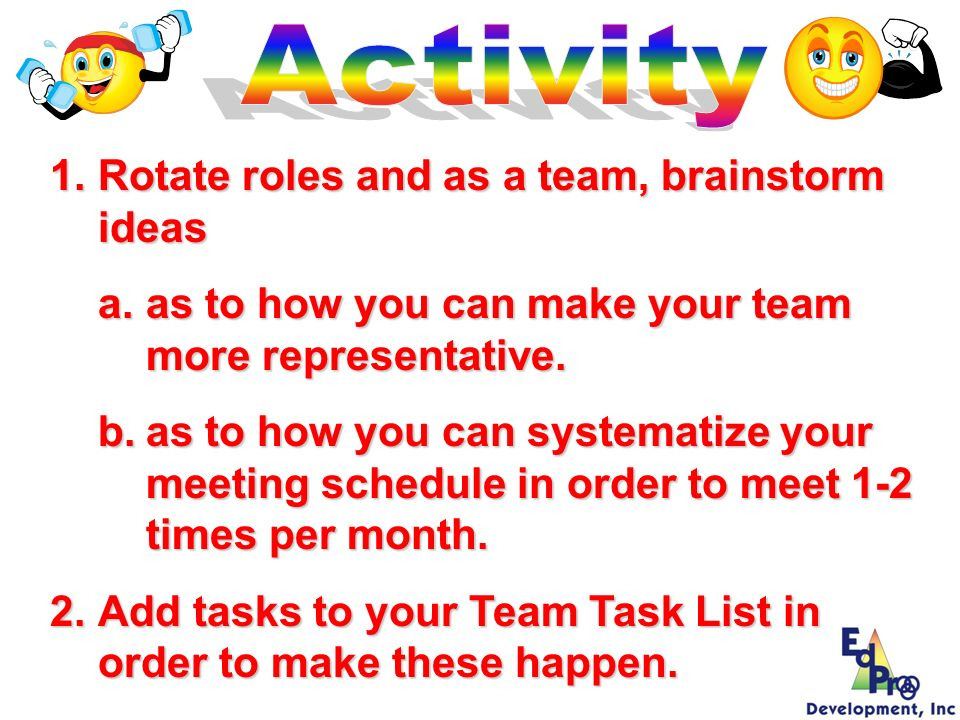Activity Rotate roles and as a team, brainstorm ideas