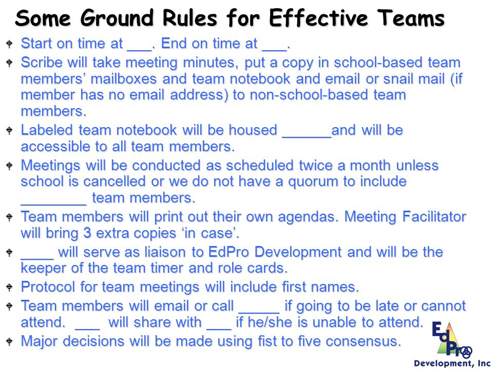 Some Ground Rules for Effective Teams